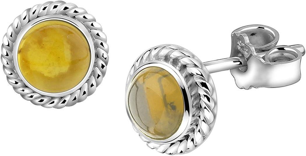 Nenalina Plata Pendientes hecho a mano cubierto con Auténtica citrino piedras preciosas 222999 - 014