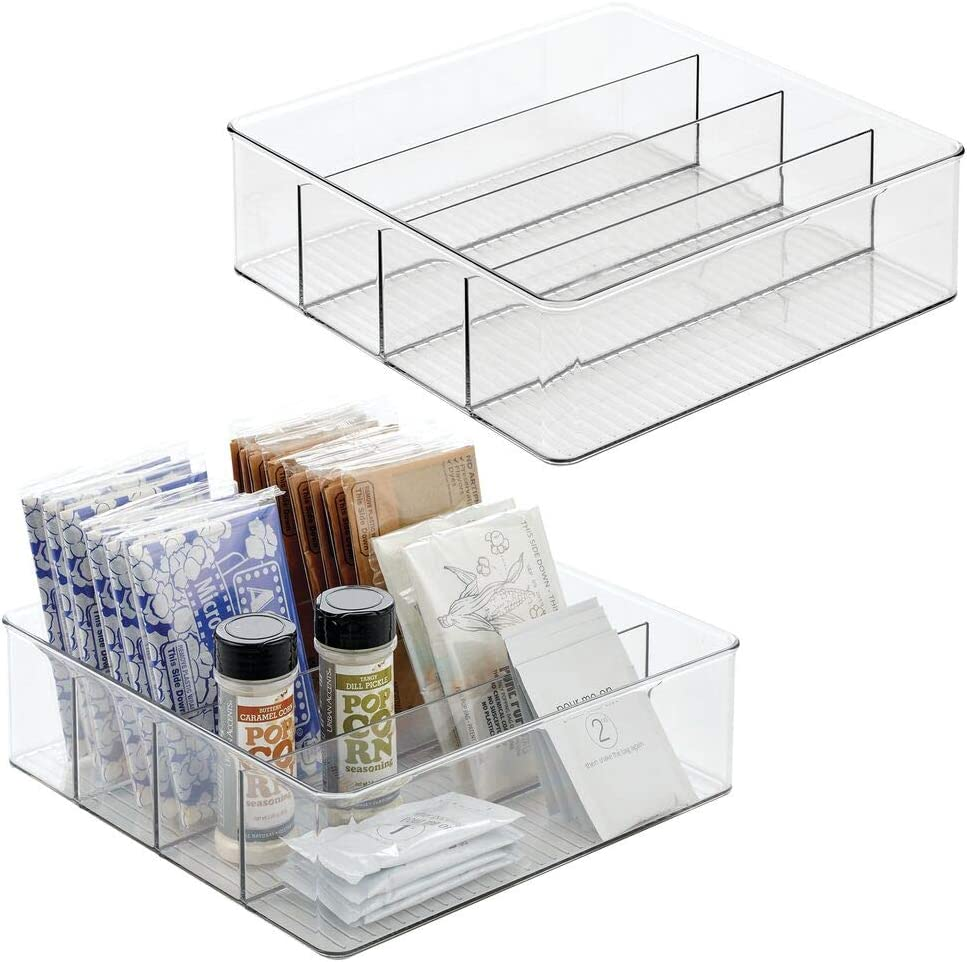 mDesign Plastic Food Storage Bin with Divided 4 Compartments for Kitchen Cabinet, Pantry, Shelf to Organize Seasoning Packets, Powder Mixes, Spices, Snacks - 12