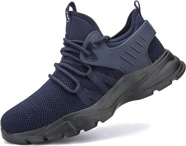 SROTER Zapatos de Seguridad para Hombre con Puntera de Acero Zapatillas de Seguridad Trabajo Antideslizante Ligeros Calzado de Industrial y Deportiva: Amazon.es: Zapatos y complementos
