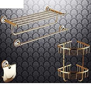 Fcowqkwazpls Bathroom Accessories Copper Antique Gold Plated Towel Rack European