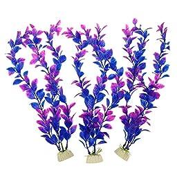 Pawliss Aquarium Decor Fish Tank Decoration Ornament Artificial Plastic Plant Purple 12inch 3 Pack 3Pcs