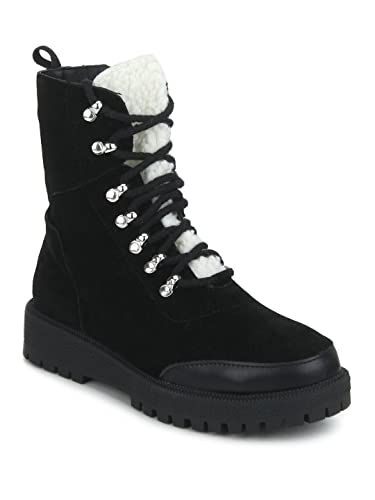 573fd053e54 TRUFFLE COLLECTION Black SU Lace-Up Ankle Boots