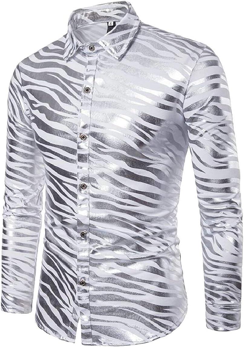 HTOOHTOOH Mens Print Nightclub Party Metallic Fashion Stripe Button Front Shirts