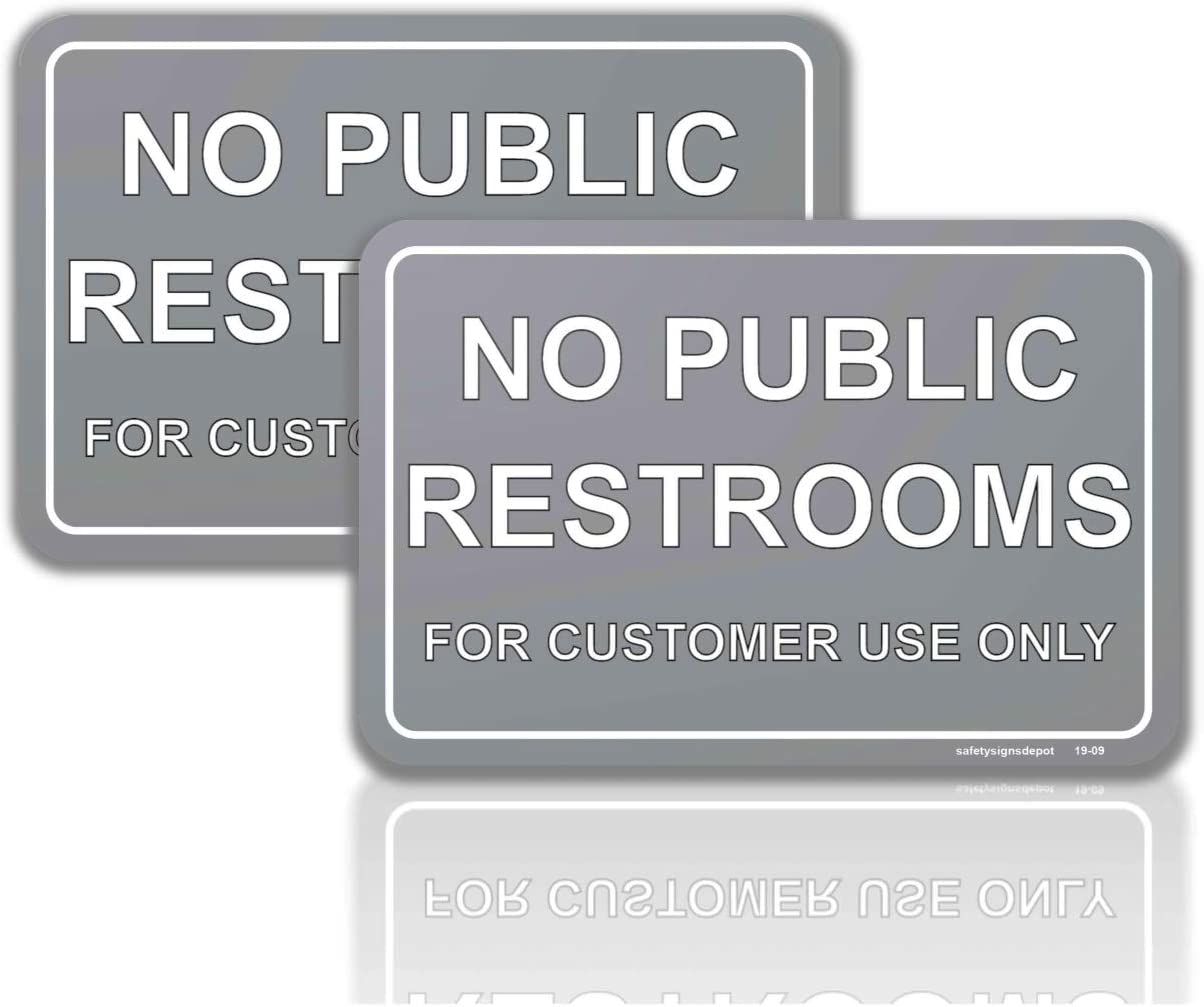 No Public Restroom for Customer Use Only Signs Sticker 2 Pcs. 4 in. x 6 in. – UV Protected for Window and Door Vinyl Decal