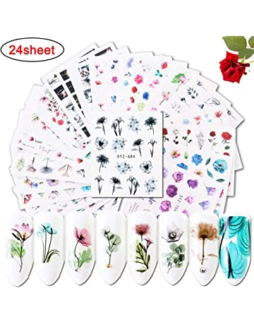 cc9c6eb8ddcd Nail Decals for Women   Girls Fingernail Decorations Nail Art Accessories  24 Sheets Nail Stickers with
