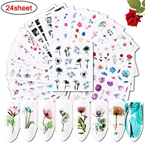 Macute Nail Decals for Women Fingernail Decorations Nail Art Accessories 24 Sheets Nail Stickers with Assorted Patterns Water Transfer Blossom Flower Flamingo Stickers Set Manicure Charms Tip Decor