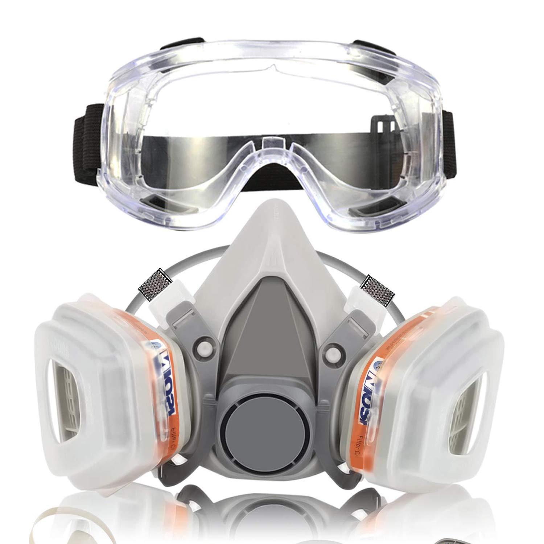 Respirador Máscara de Gas Reutilizable con Gafas de Seguridad Protección Respiratoria Semimáscara con Doble Filtro para Pintura, Polvo, Productos Químicos, Lijado a Máquina, Formaldehído