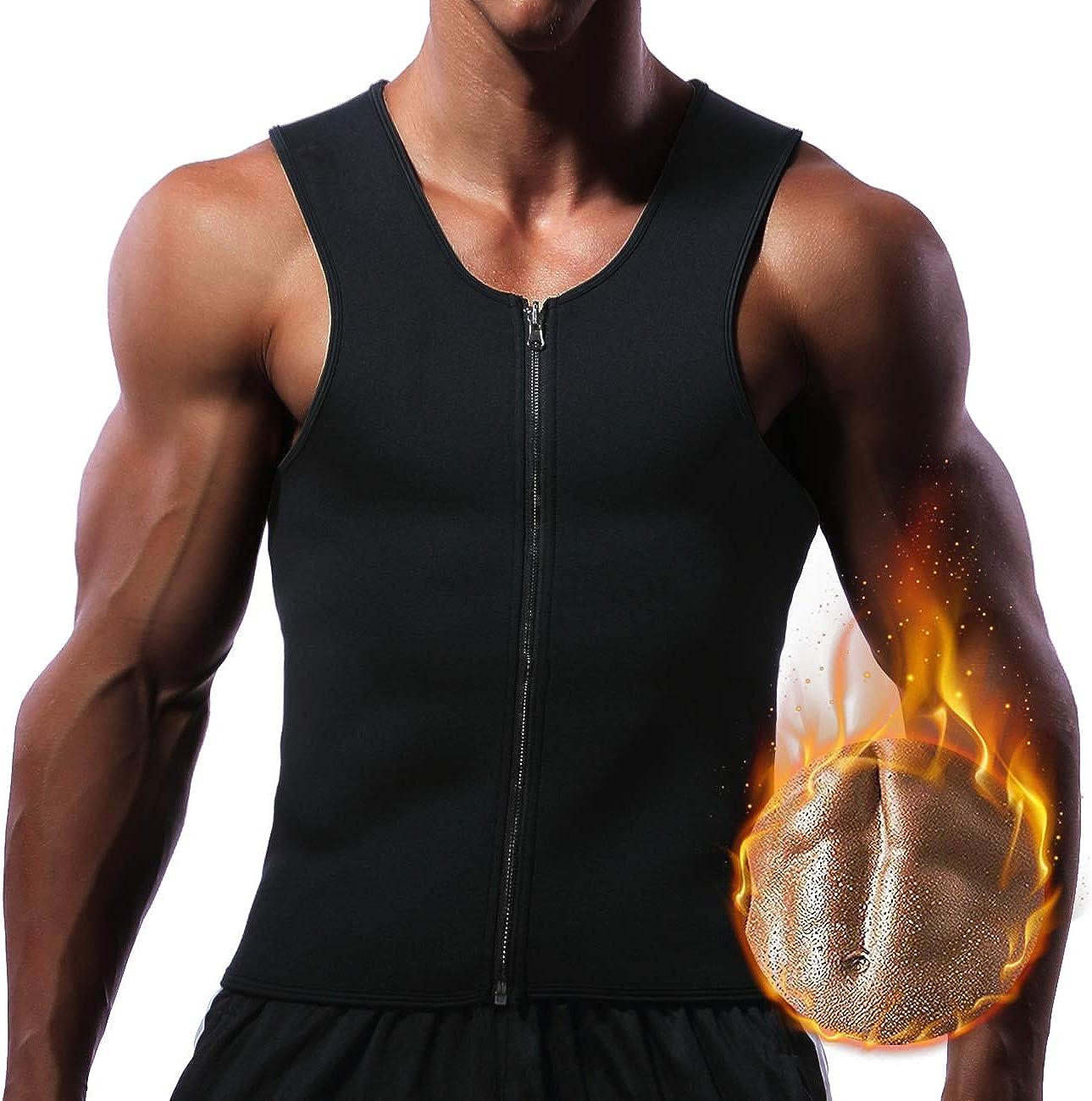 Men/'s Waist Trainer Vest for Weight Loss Sauna Hot Neoprene Body Shaper Tank Top