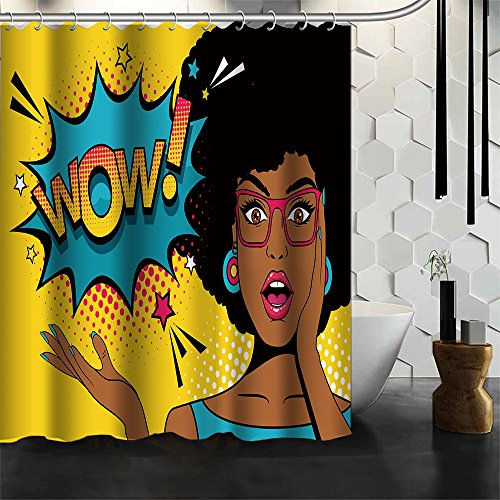Changyun Sexy Surprised Young African American Woman With Open Mouth and WOW Speech Bubble Design Waterproof Fabric Bathroom Shower Curtain 66