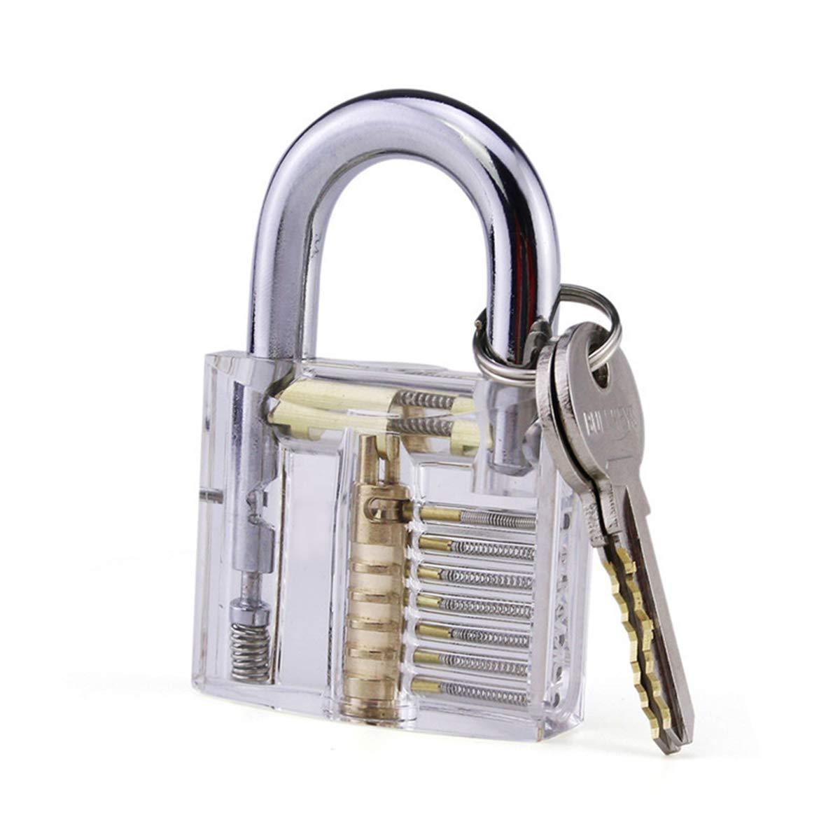Lightvoice 12Pcs Unlocking Lock Pick Tool Set+Transparent Practice Padlocks Training Tools