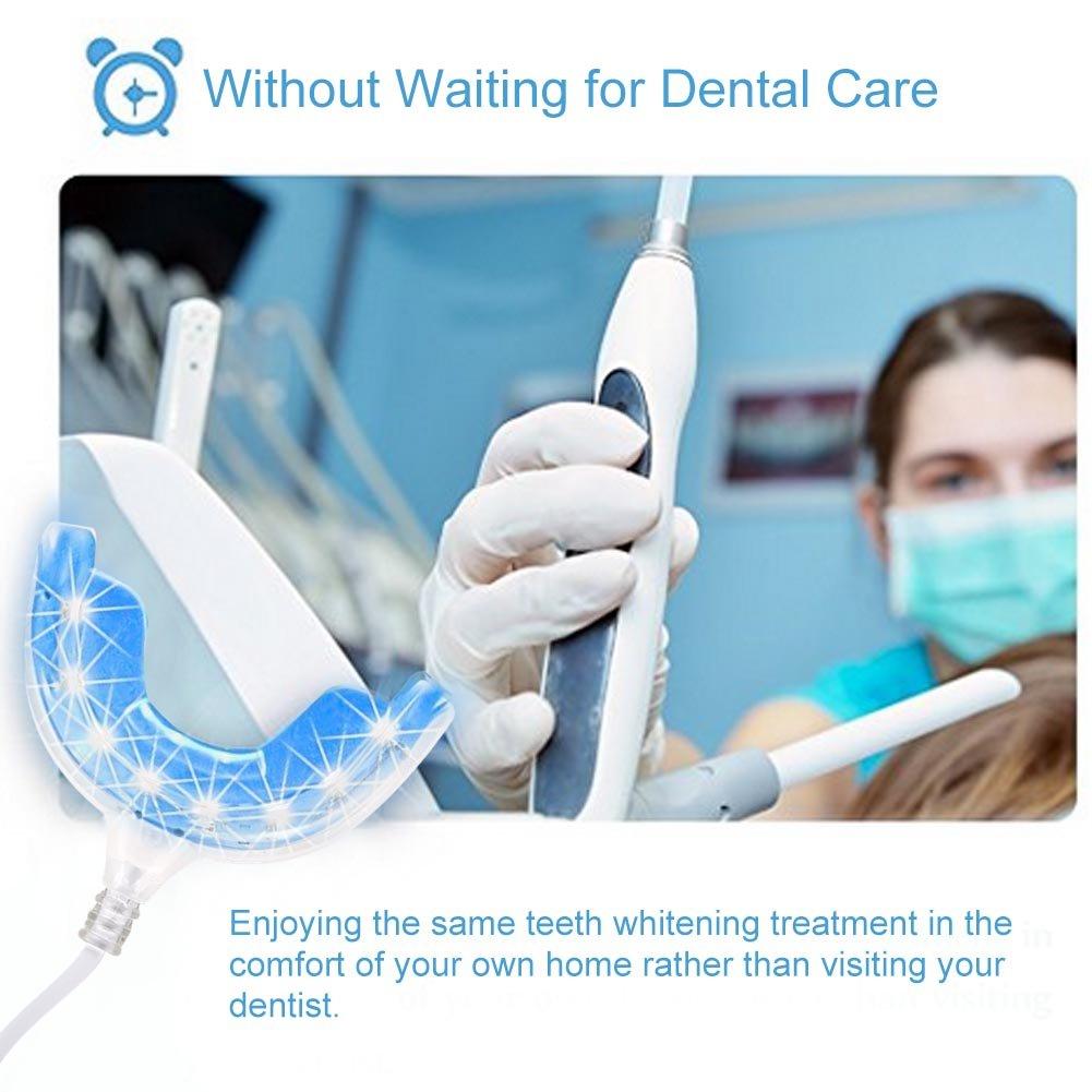 Blanqueamiento de dientes, Kit de blanqueamiento de dientes Blanqueador de dientes de luz azul Cuidado oral con adaptadores para iPhone/Andriod/USB: ...