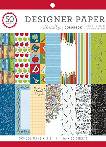 Colorbok 75338 Designer Paper Pad School Days, 8.5' x 11'