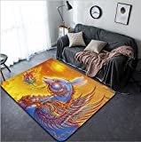 Vanfan Design Home Decorative 70627627 2011 year of the rabbit Thai style painting Modern Non-Slip Doormats Carpet for Living Dining Room Bedroom Hallway Office Easy Clean Footcloth