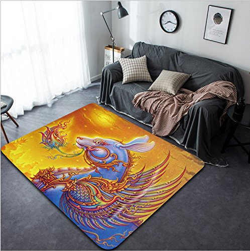 Vanfan Design Home Decorative 70627627 2011 year of the rabbit Thai style painting Modern Non-Slip Doormats Carpet for Living Dining Room Bedroom Hallway Office Easy Clean Footcloth by vanfan
