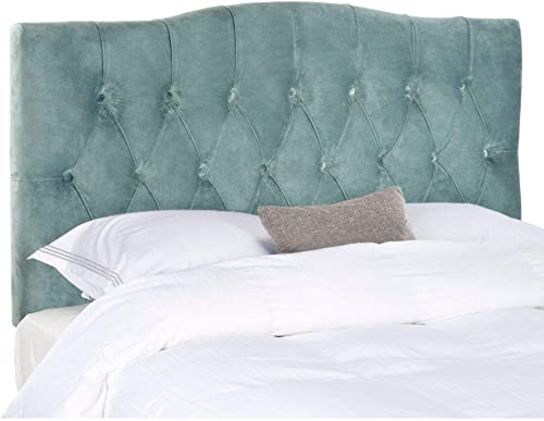Safavieh Axel Wedgwood Blue Cotton Upholstered Tufted Headboard King