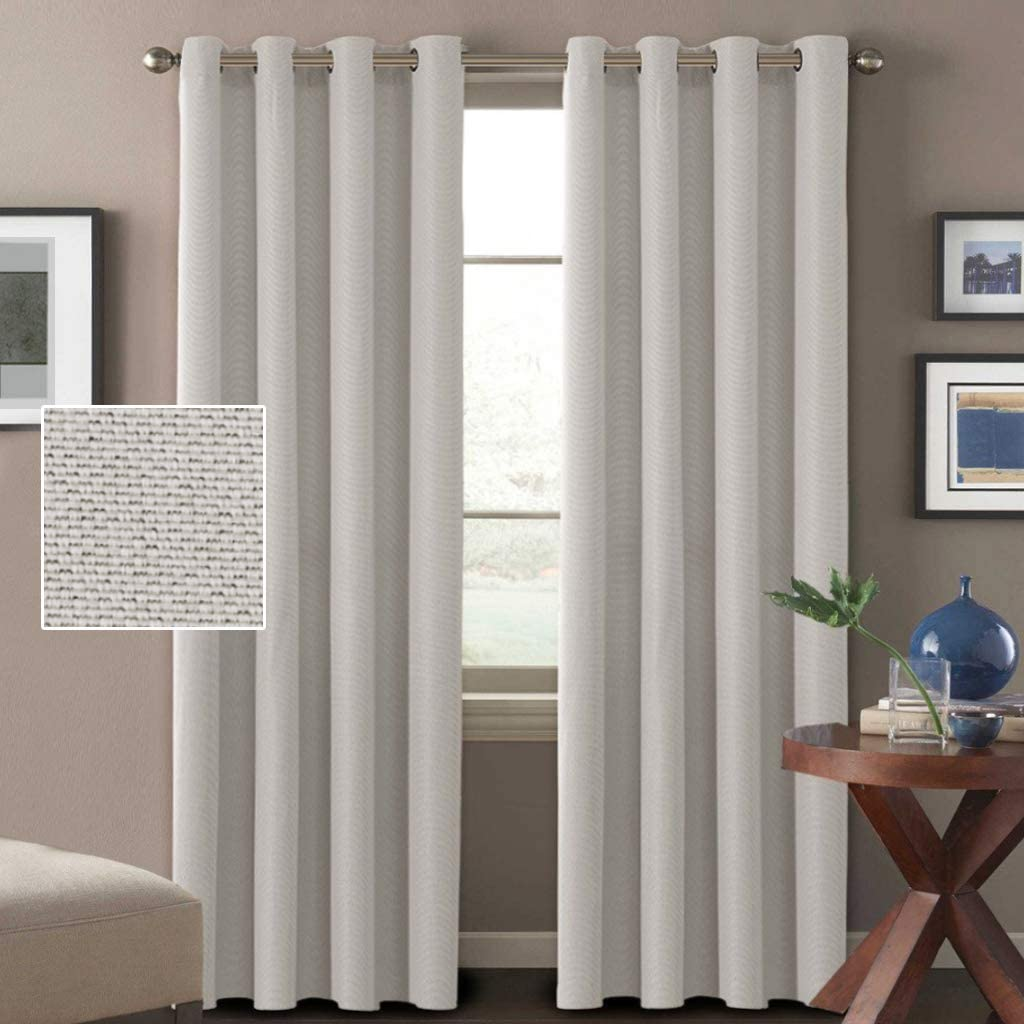 H.VERSAILTEX Linen Curtains 108 Inches Room Darkening Extra Long 108 Textured Linen Burlap Curtains, 2 Panels Curtains for Living Room Grommet Primitive Linen Curtain Drapes - Off White