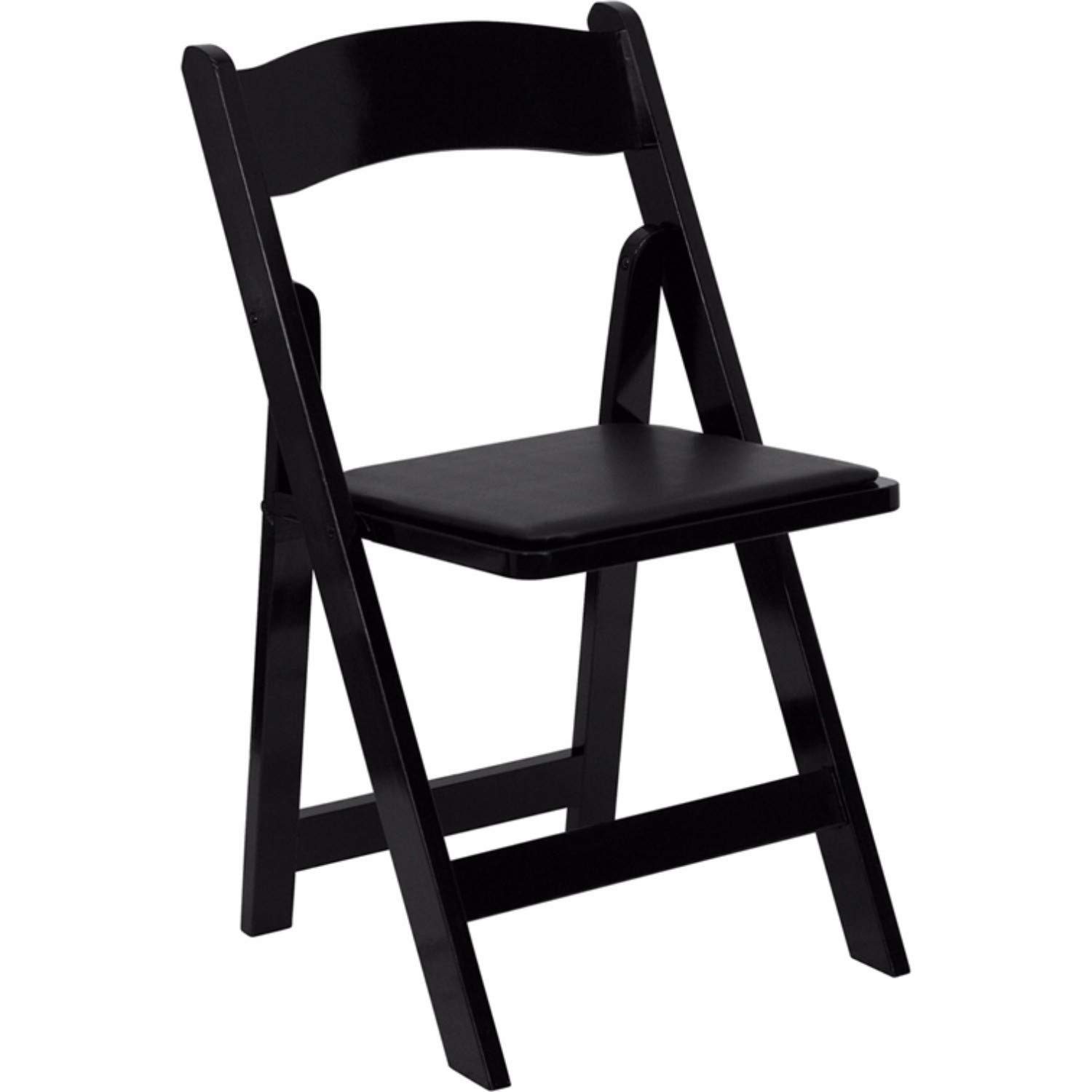 Offex OFX-89937-FF Wood Folding Chair with Vinyl Padded Seat - Black