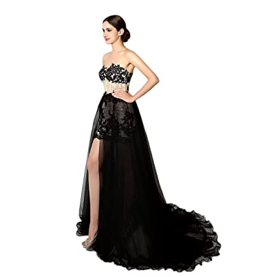 TDHQ Womens Sweetheart Lace Applique Beaded Fishbone Panel Prom Dress Black UK18
