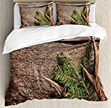 Antlers Decor Duvet Cover Set King Size by Ambesonne, Evergreen Branch with Deer Antler Against Rustic Wooden Background, Decorative 3 Piece Bedding Set with 2 Pillow Shams