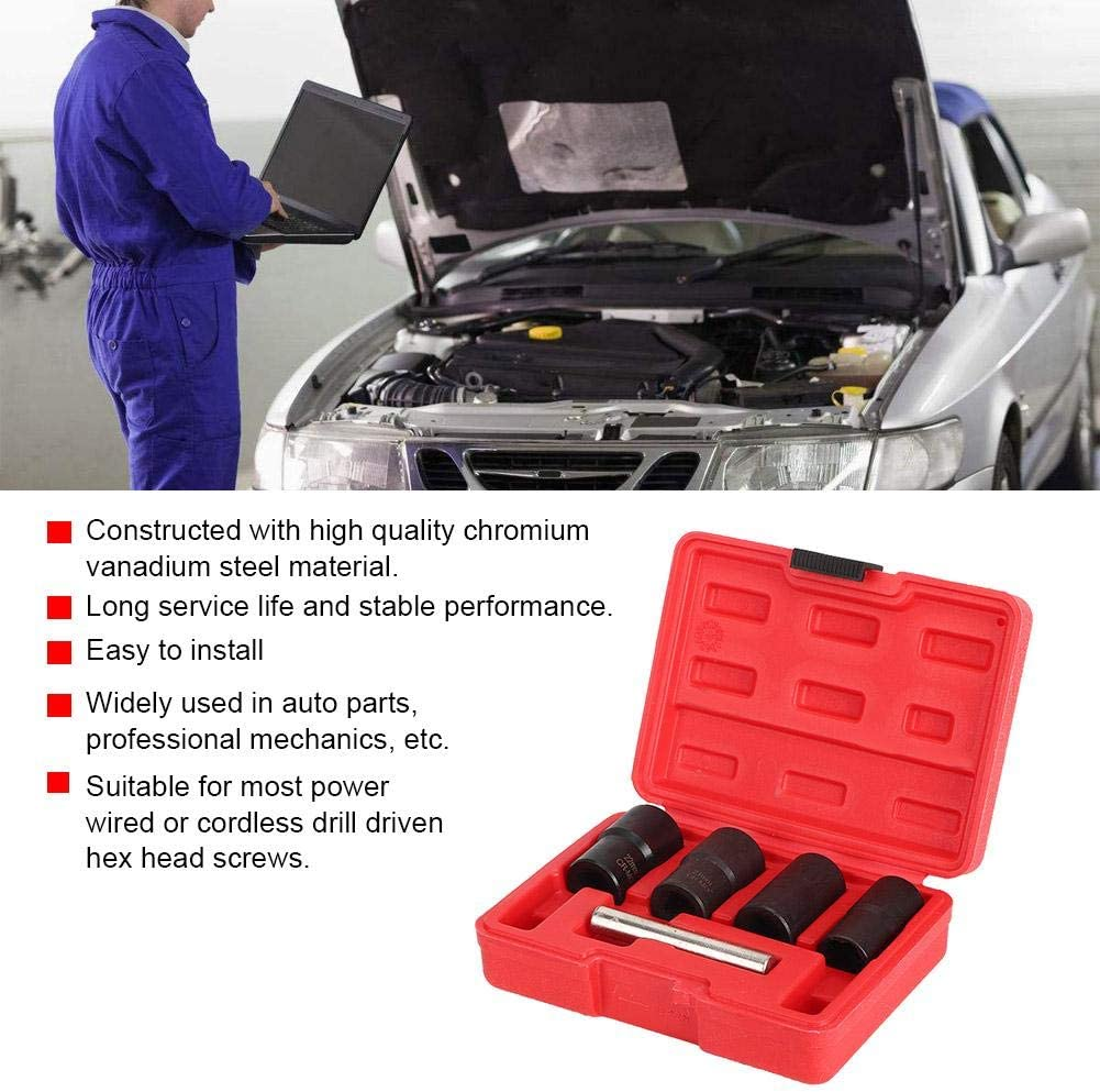 5pcs//Set Spiral Tire Screw Extractor Sleeve Nut Removal Tool Lengthen Type