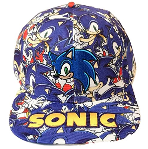 New Horizons Production Sonic The Hedgehog All Over Print Logo Adjustable Snapback Cap/Hat ()
