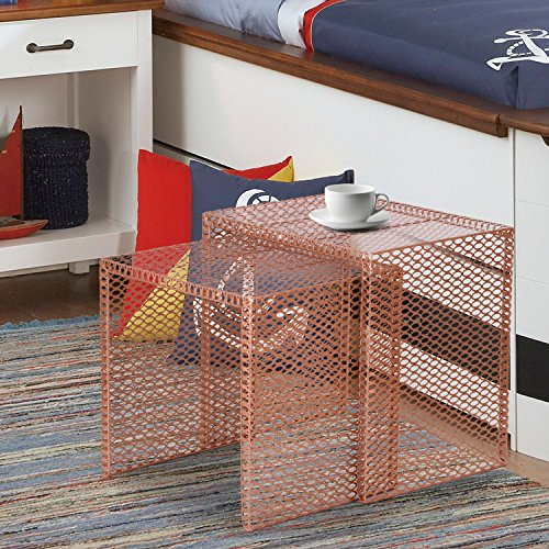 Homebeez Morden Designed Nesting End Coffee Table, Set of 2 (copper golden) by Homebeez