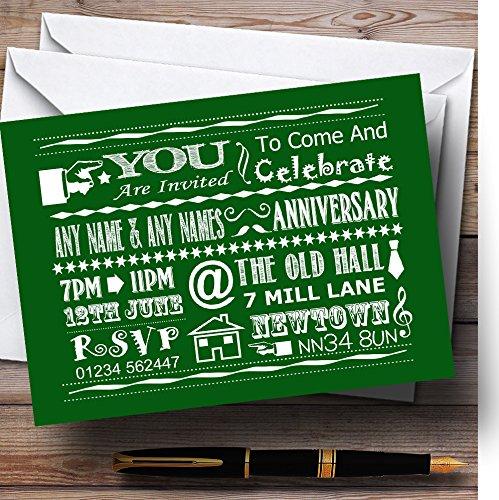 Cool vintage Fun Chalk Typography verde personalizzabile Anniversary party invita...
