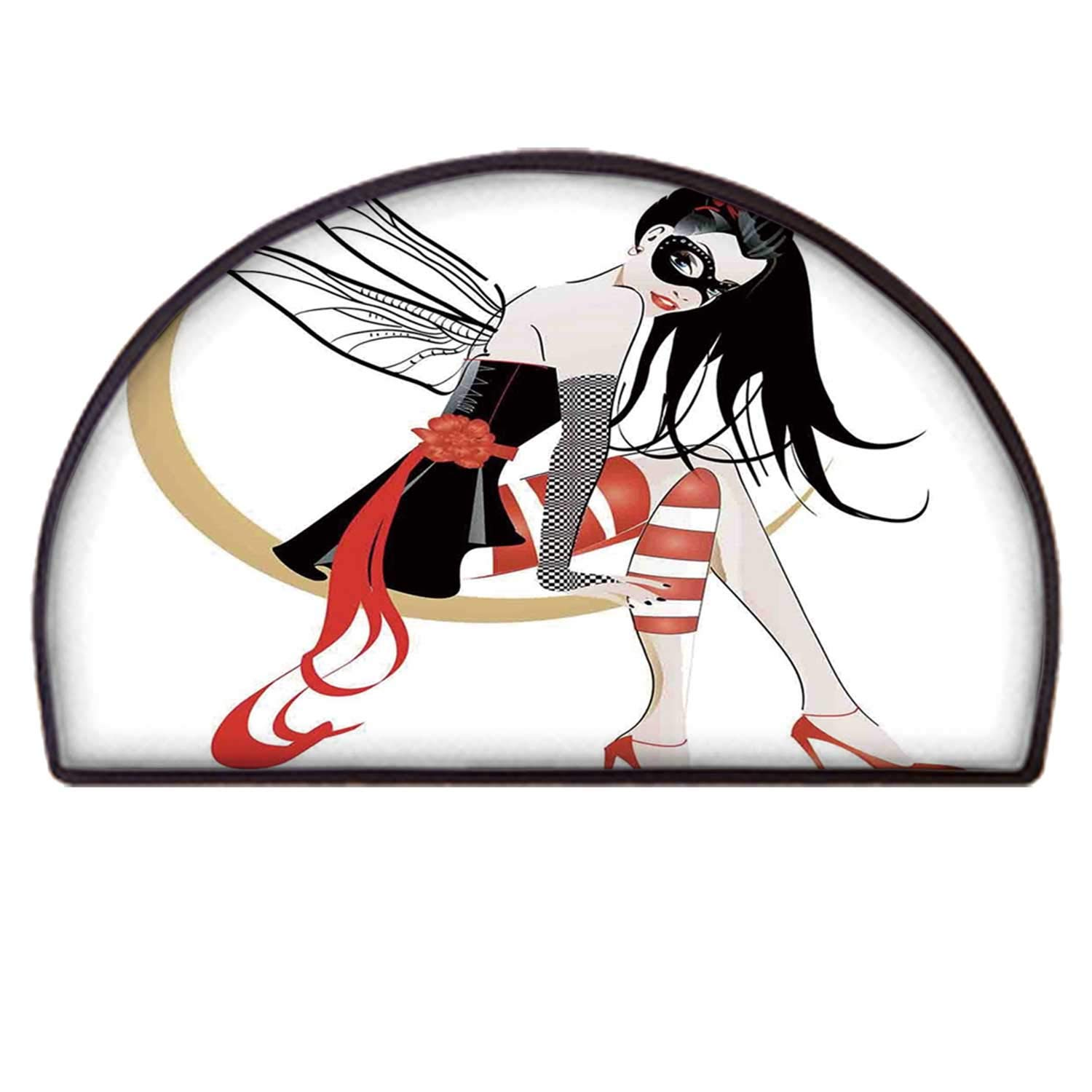 YOLIYANA Gothic Comfortable Semicircle Rug,Stylish Girl with Mask and Wings on The Moon Luna Fantasy Artsy High Heals Fashion for Door by YOLIYANA