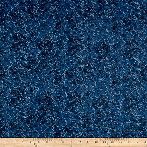 Essentials 108in Wide Back Flannel Filigree Dark Blue Fabric By The Yard