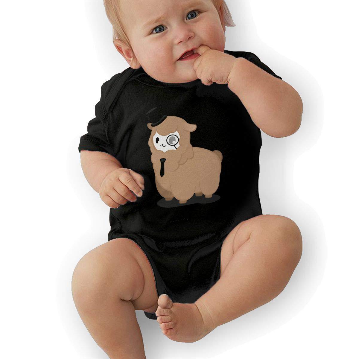 Manlee Alpaca Detective Sheep Newborn Infant Toddler Baby Girls Boys Bodysuit Short Sleeve 0-24 MonthsBlack