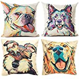 TUOKAY Decorative Throw Pillow Cover with Watercolor Adorable Dog Pattern Throw Pillow Case, Cushion Cover 18 x 18 inch for Car Sofa, Cotton Linen Fabric,❤ 4 pcs