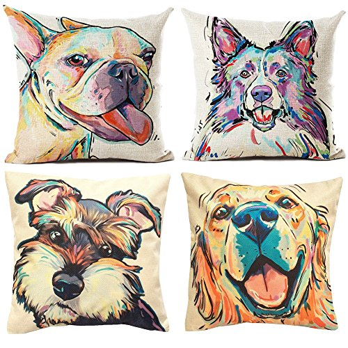 TUOKAY Decorative Throw Pillow Cover with Watercolor Adorable Dog Pattern Throw Pillow Case, Cushion Cover 18 x 18 inch for Car Sofa, Cotton Linen Fabric,❤ 4 pcs by TUOKAY