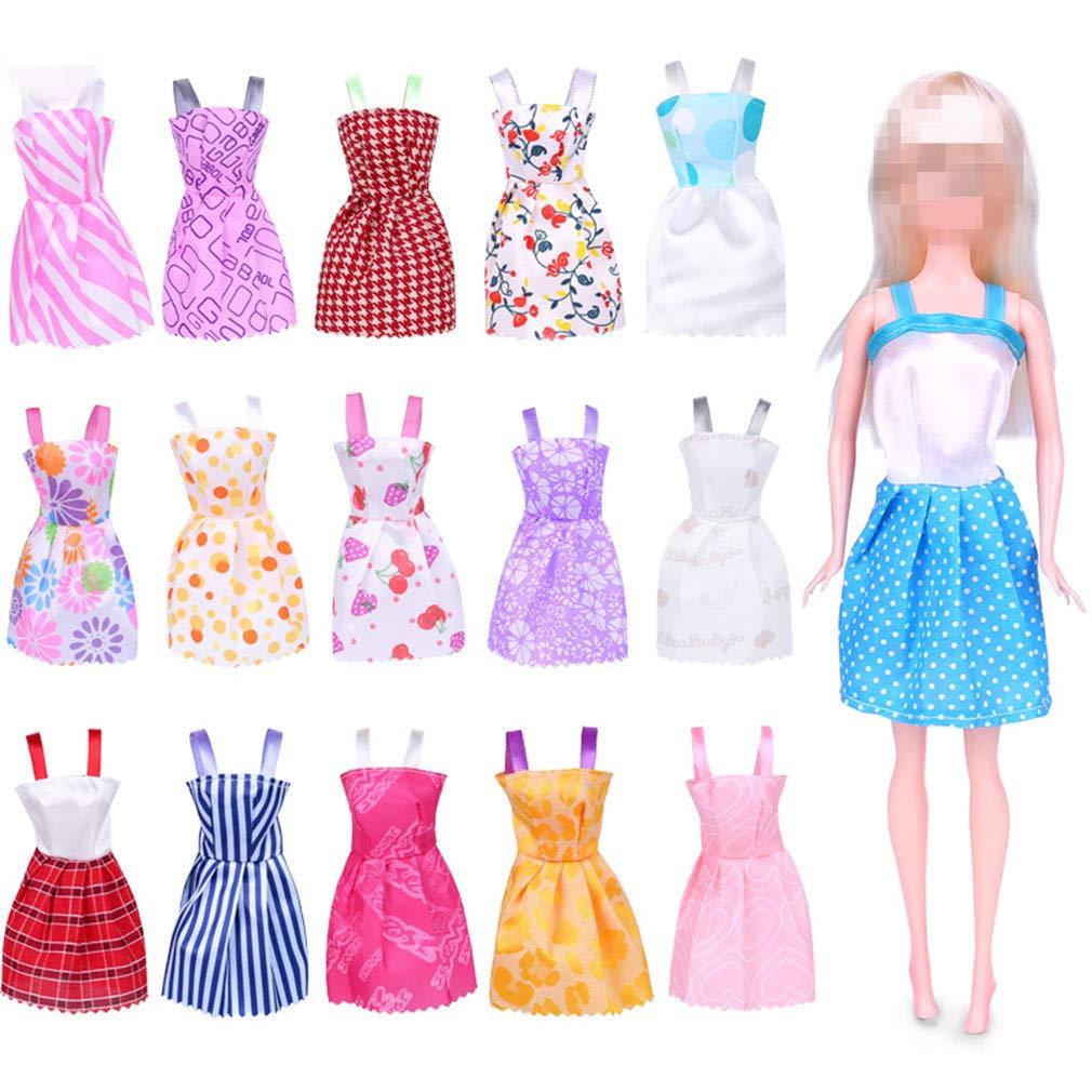 Amazon.es: Frmarche 16pcs Faldas Vestidos para Barbie Muñeca ...