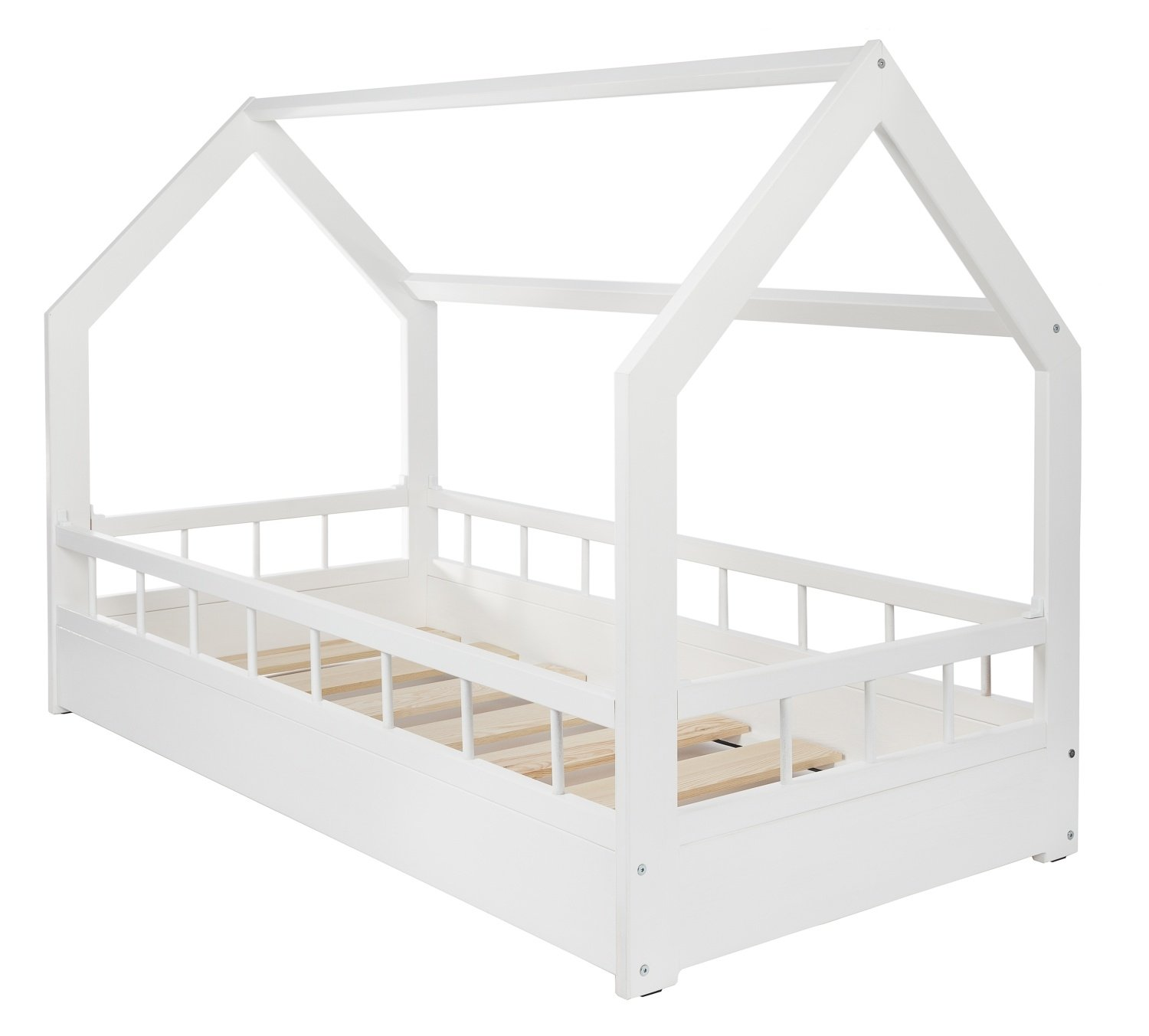 Velinda Wooden bed, Scandinavian style, modern, kids bed, home bed, 160x80+barriers (colour: white)