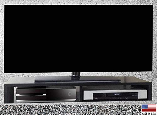 RIZERvue TV Stand for Flat Screen Satin Black Tabletop Supports Up to 50 Diagonal Flat Screen No Assembly Required, Ships Fully Assembled Free Econo Shipping