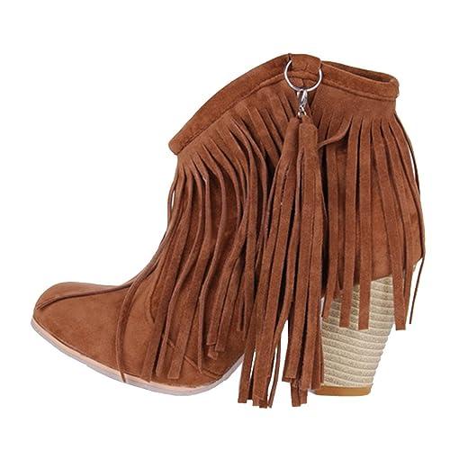 Damen Mit Heels Aiyoumei Party Stiefel Stiefeletten Fransen High Warm Ankle Klassischer Boots Blockabsatz 0wOPkXNn8