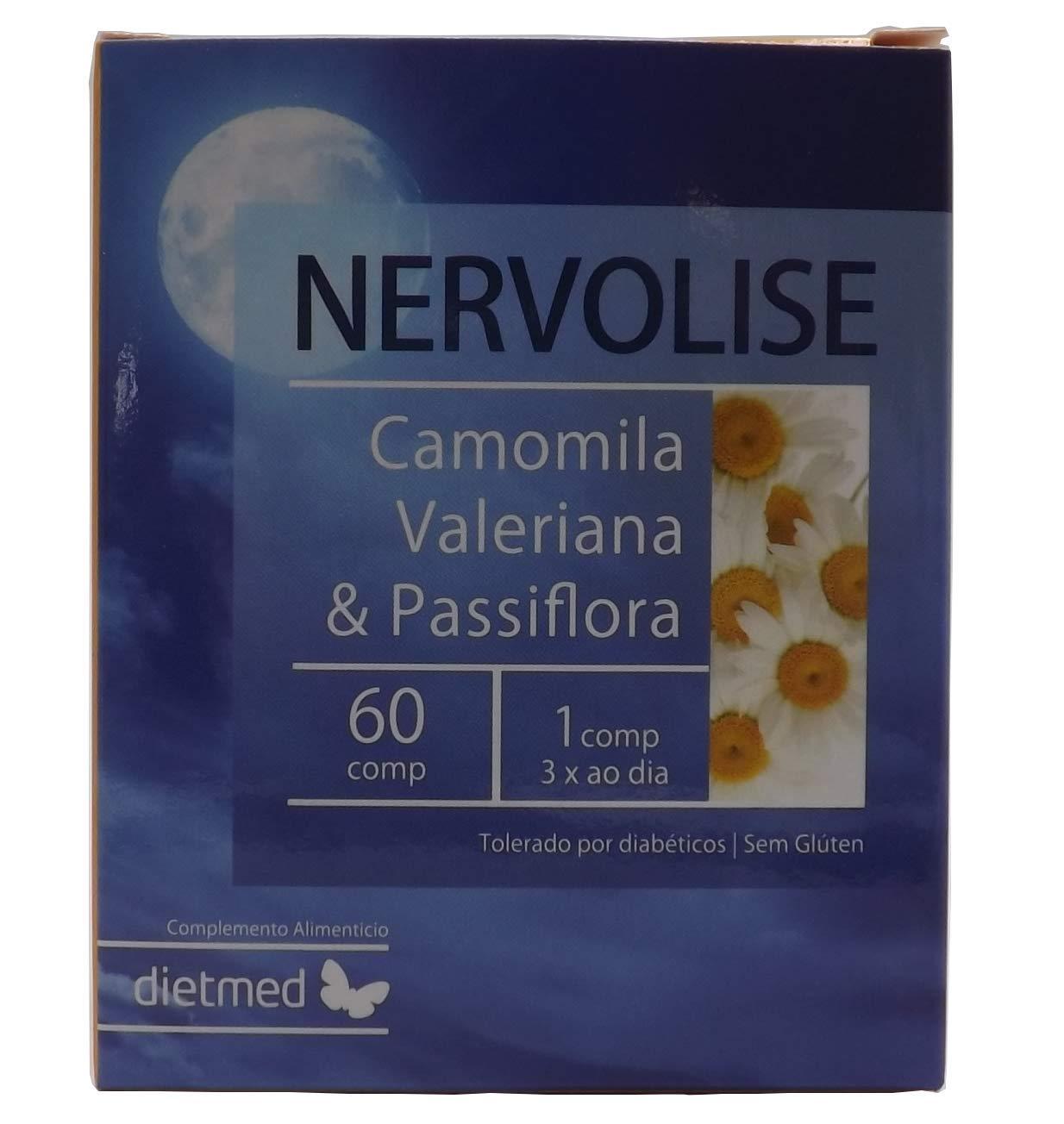 Dietmed NERVOLISE 60 C. Manzanilla, lúpulo, pasiflora, salvia, valeriana, bola de nieve. Tranquilizante, relajante, anti estrés, sueño reparador, ...
