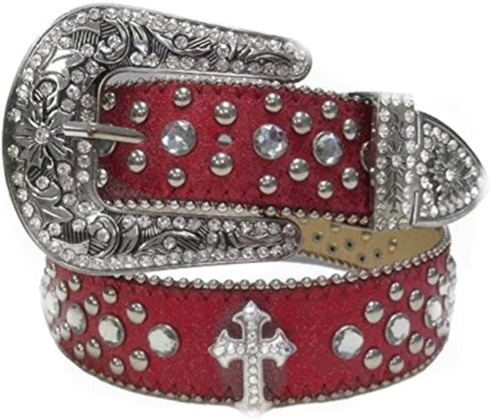 Womens White Flowers Designs Studded Leather Metal Buckle Belt New