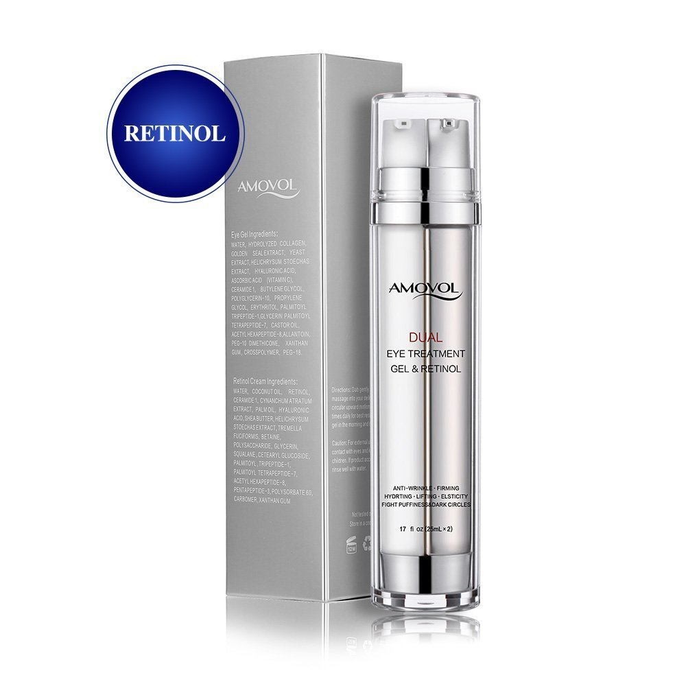 Eye Gel with Retinol for Dark Circles, Puffiness, Wrinkles and Bags, Day & Night Anti-Aging Eye Treatment Cream for Under and Around Eyes, Best Gift for Women and Men, 2 x 0.85oz AMOVOL