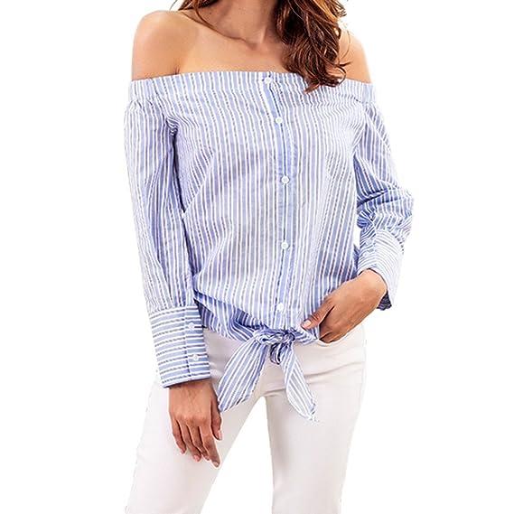 Camiseta de Manga Larga para Mujer, BBestseller Ropa Camisetas Mujer, Blusa de Verano Las Mujeres Top de un Hombro con Manga Larga a Rayas de botón de ...