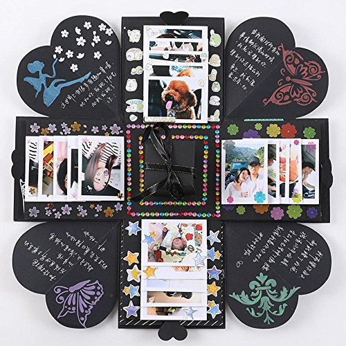 niceEshop(TM) Explosion Gift Box DIY Photo Album Creative DIY Explosion Box As Birthday Anniversary Gifts,a Surprise About Love,Black