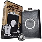 The Premium Shot Flask (8oz) - Includes a Built-in 2oz Collapsible Shot Glass and Bonus Funnel - Leak Proof - Food Grade 304 18/8 Stainless Steel and Faux Leather Wrap by Future Hydrate (Black, 8 oz)