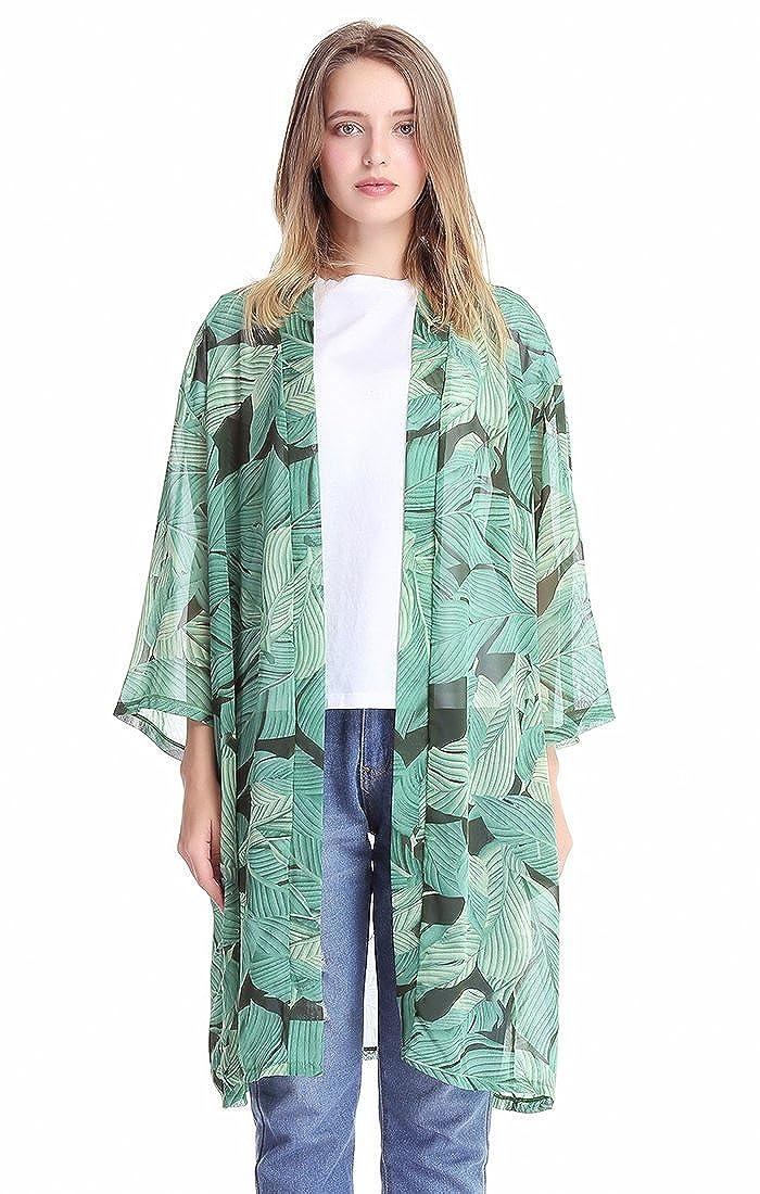 MissShorthair Women Beach Cover Ups Chiffon Kimono Cardigan C189C-9