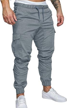 Pantalones de Hombre Casuales Chino Deporte Joggers Pants Algodón ...