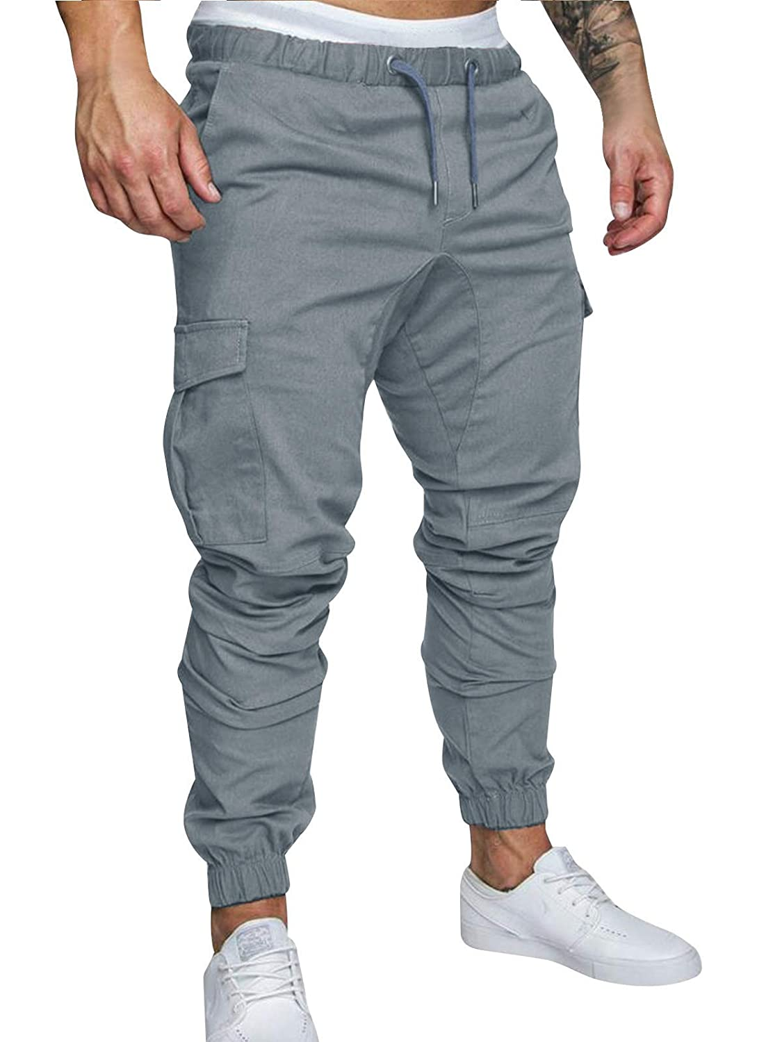 Cindeyar Men's Cargo Pants Slim Fit Casual Jogger Pant Chino Trousers Sweatpants
