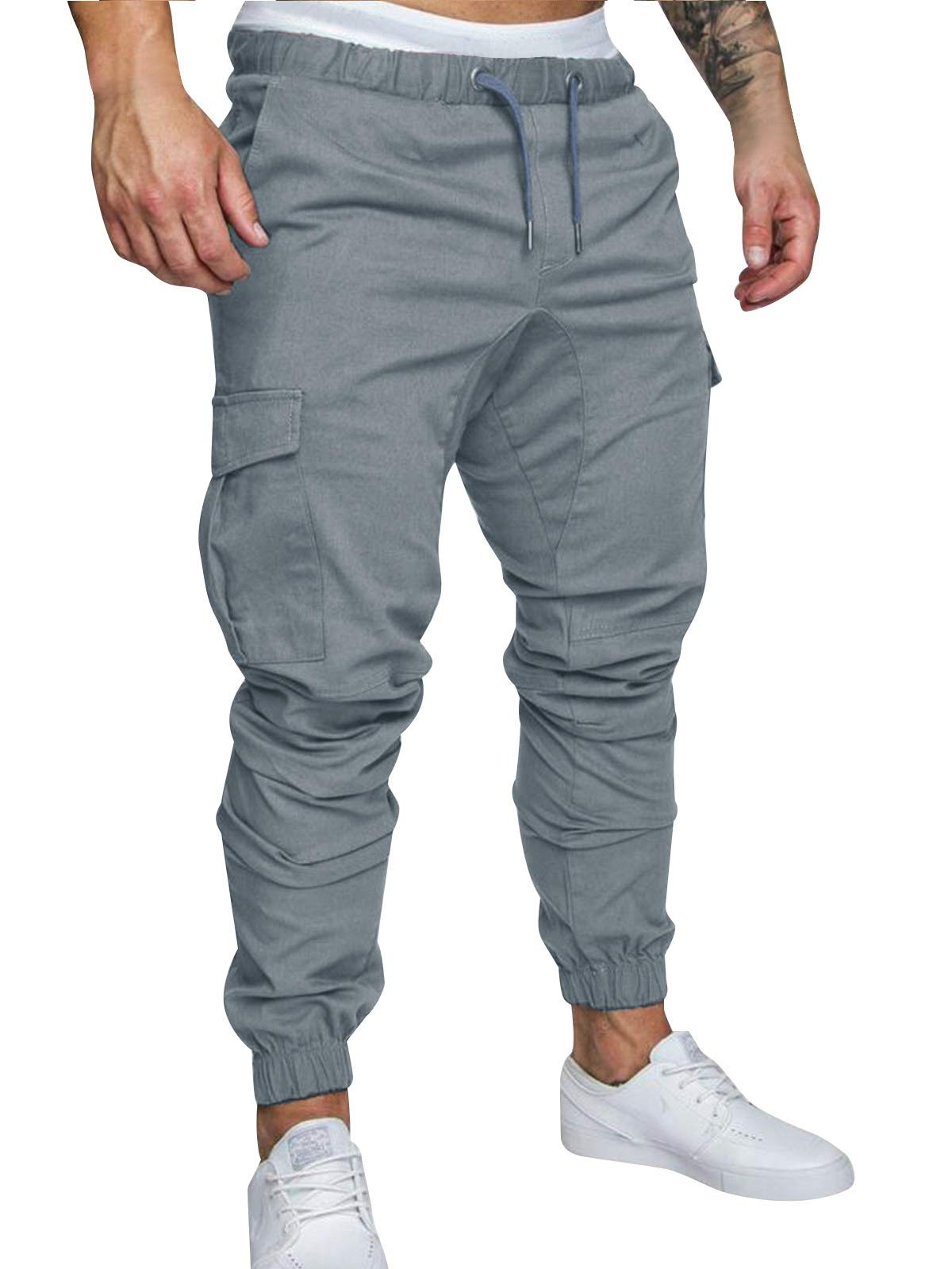 Cindeyar Men's Cargo Pants Slim Fit Casual Jogger Pant Chino Trousers Sweatpants(Gray,X-Large)