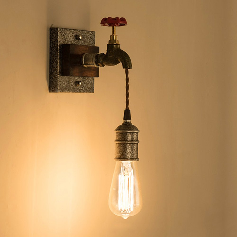 KunMai Vintage Metal Water Pipe Edison Bulb Hanging Indoor Wall ...