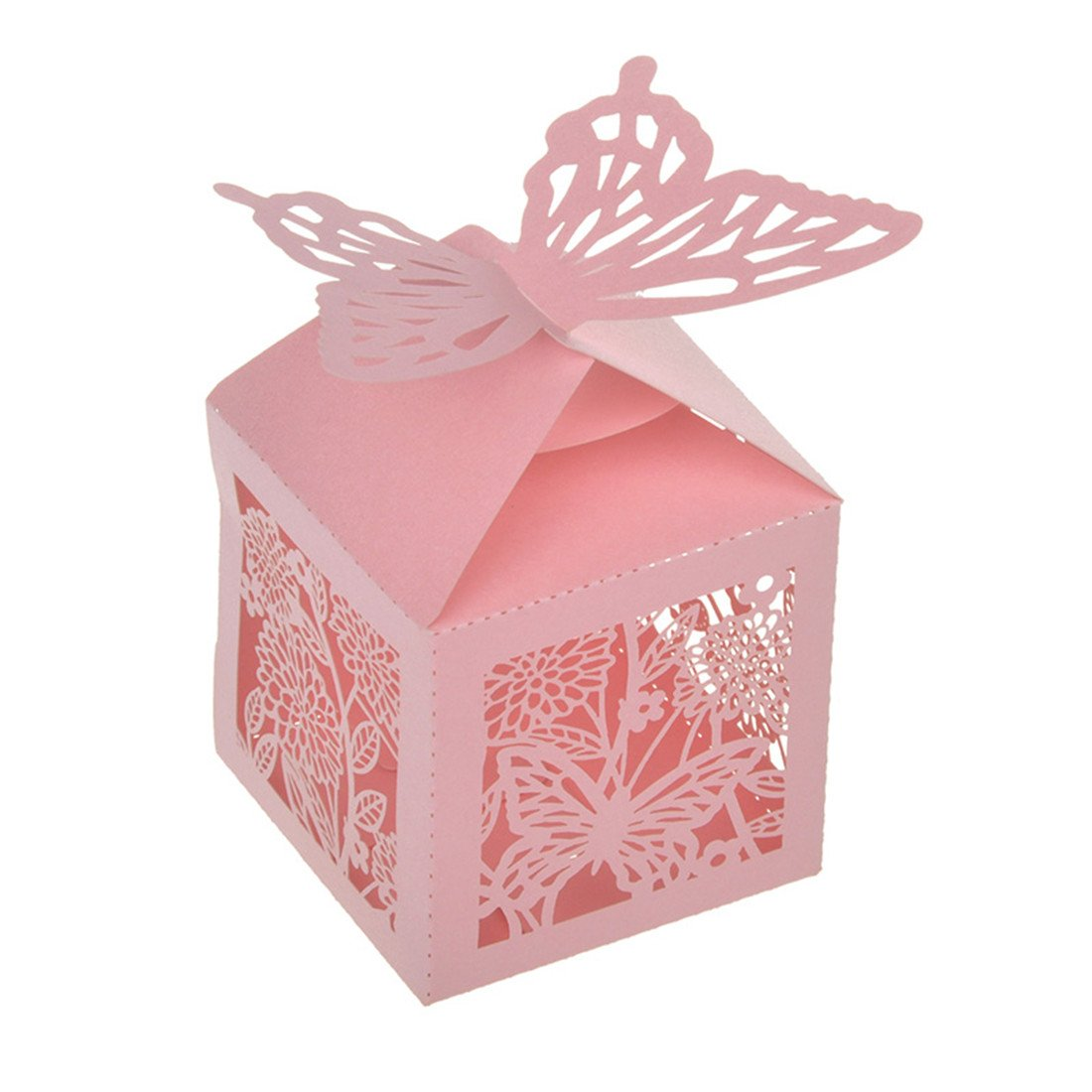 Amazon.com: YUFENG Laser Cut Butterfly Wedding Favor Gift Box For ...