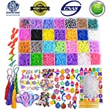 11900+ Rainbow Rubber Bands Refill Kit, Loom Rubber Bands for Kids Bracelet Making Craft - 11000+ Loom Bands in 28 Colors, 600 Clips, 210 Beads, 54 Charms, 10 Backpack Hook, 5 Tassels, 3 Hair Clips