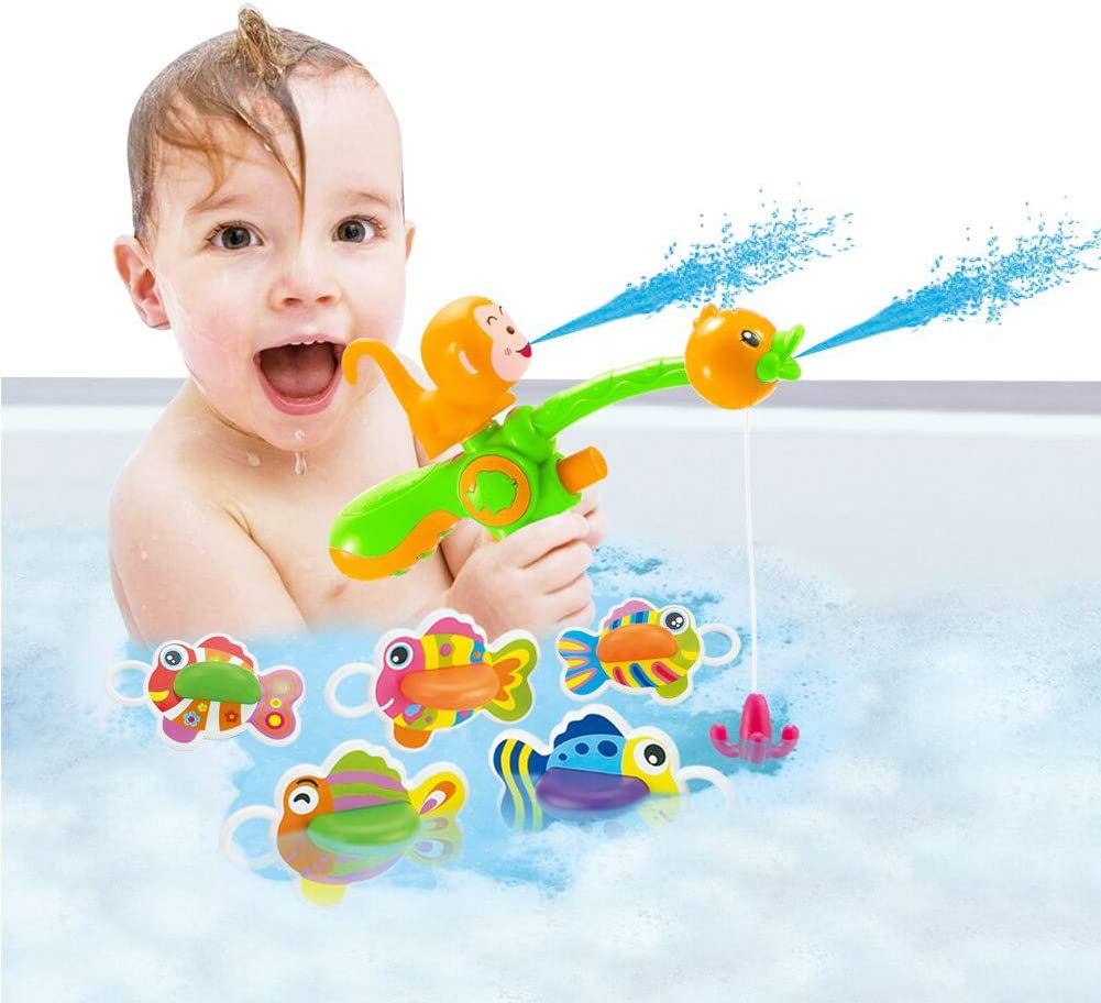 Fishing Squirting Bathtub Toy Set for Kids Boys Girls Ages 3 Years Old and Up Schliersee Bath Toy